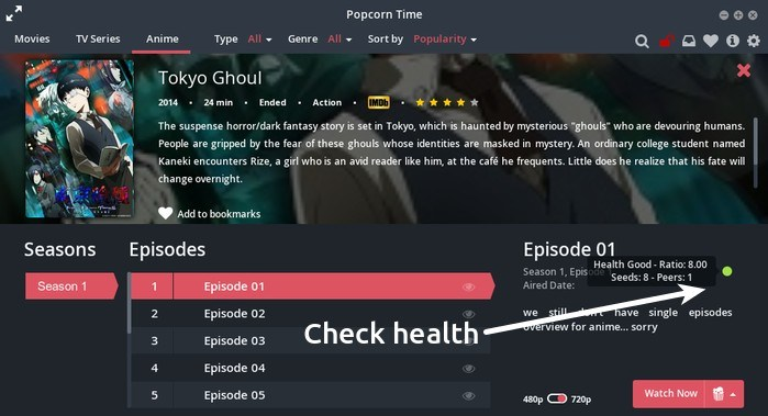Check torrent health in Popcorn Time
