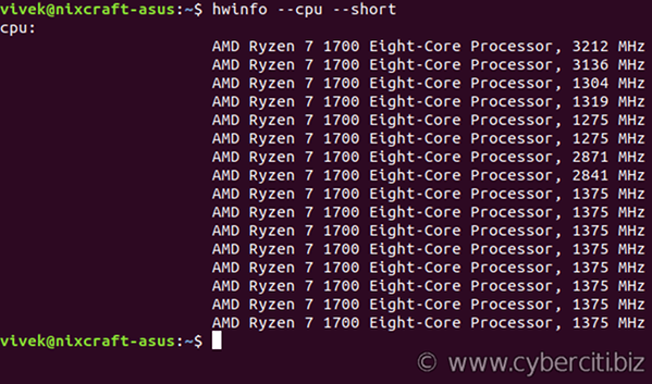 Linux see CPU core information with hwinfo