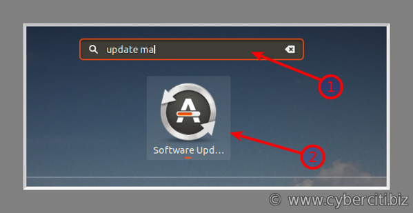 Ubuntu software manager to update packages