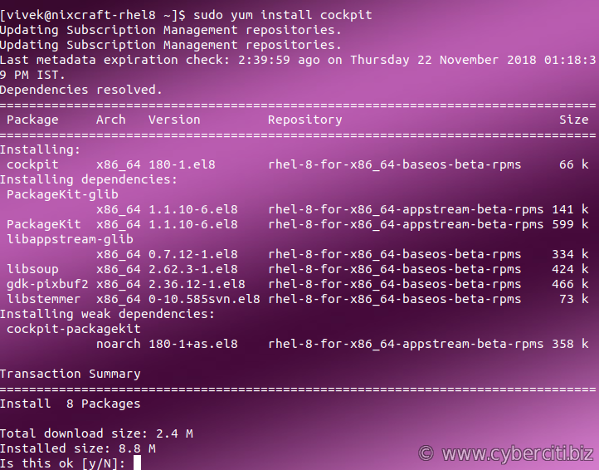 Install and activate Cockpit web console on RHEL 8