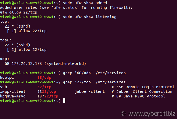 Ubuntu ufw firewall reports