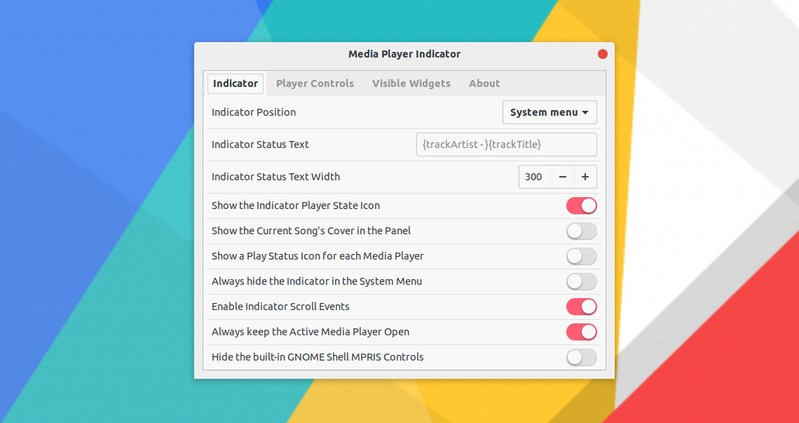 Configuration option for Media Player Indicator in GNOME