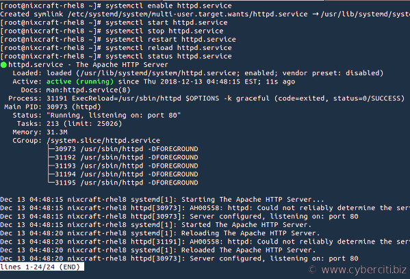 How to enable and start HTTPD service on RHEL 8
