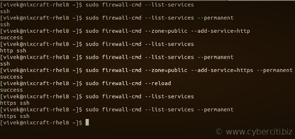 Firewalld runtime vs permanent rule set examples