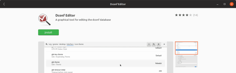 dconf editor in Ubuntu software center