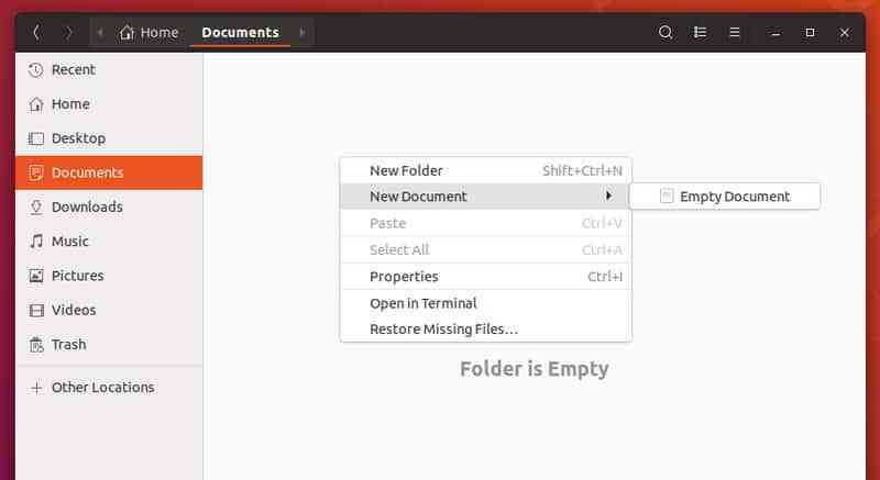 New document option added to right click context menu in Ubuntu 18.04