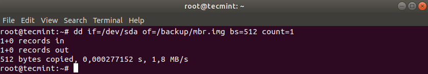 Backup MBR in Linux
