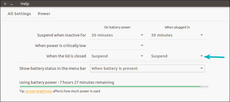 Ubuntu power settings