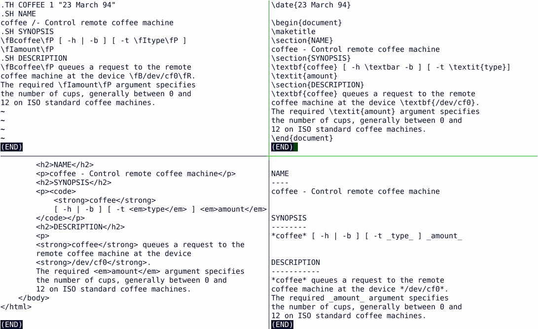 Who is who? Could you guess which of these example files is written using AsciiDoc?