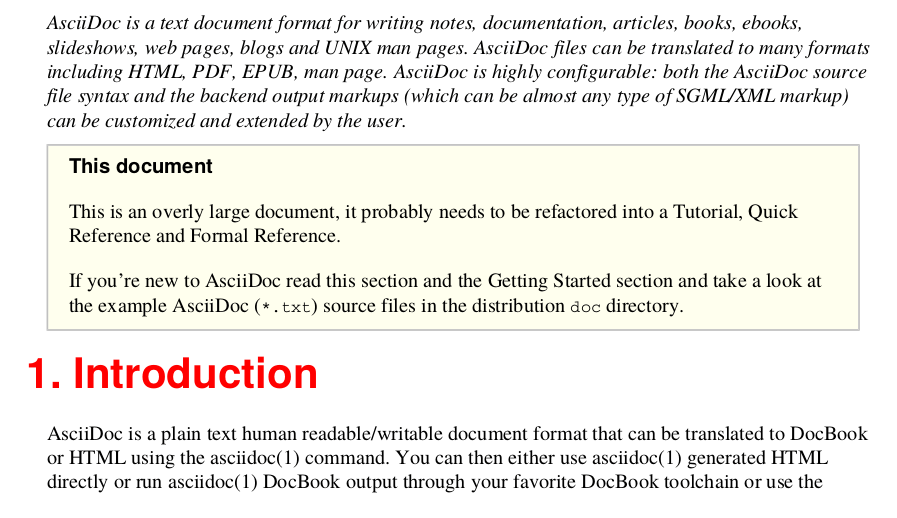 AsciiDoc PDF output generated from Apache FOP using a custom XSLT to display the first paragraph in italics and section headings in color