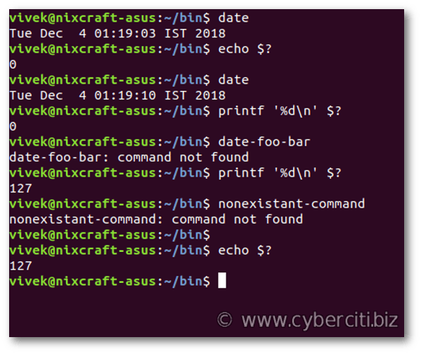 Bash get exit code of command
