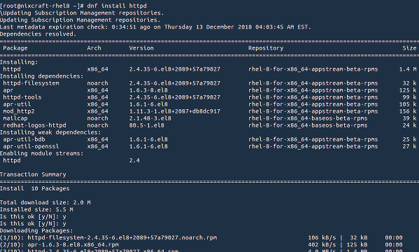 How to install HTTPD on RHEL 8