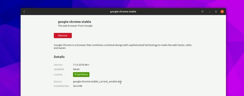 Finished installation of Google Chrome in Ubuntu Software Center