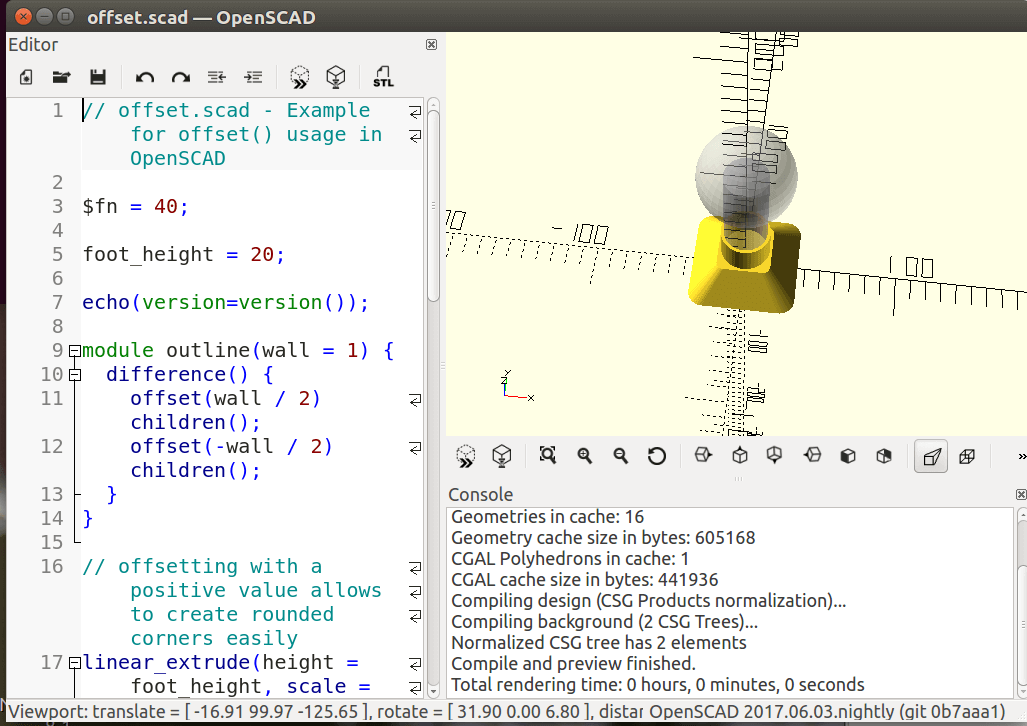 OpenSCAD for creating solid 3D CAD objects