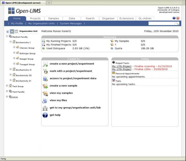 Open-LIMS - Open-Source Laboratory Information Management System