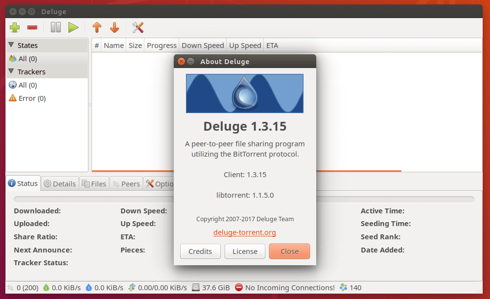 Deluge Bittorrent Client for Linux