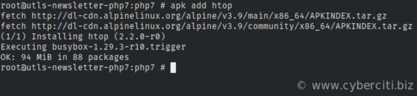 apk command install htop on Alpine Linux